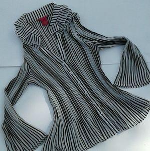 Sunny Leigh strip button down blouse.